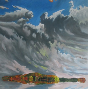Float (Algonquin, Low Horizon) 2014, oil on birch panel, 152.4cm x 152.4cm
