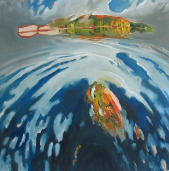 Float (Canoe Lake) 2014, oil on birch panel, 152.4cm x 152.4 cm