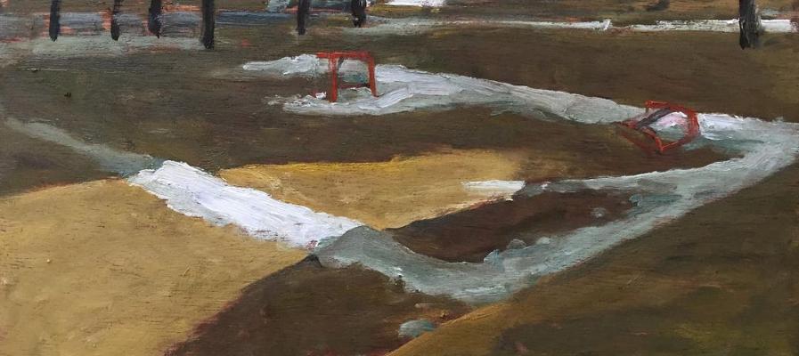 "End of Season, Benson Rink John Climenhage, 2020 oil on panel 12""x16"""