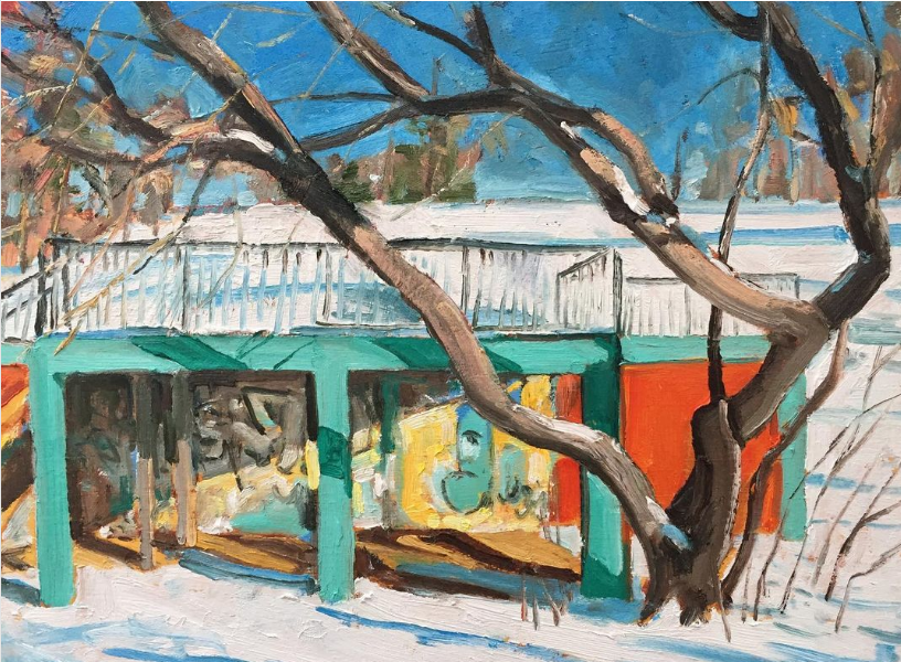 """Winter Stage (Nicholls Oval Stage) by John Climenhage, 2020 oil on panel 12""""x16"""""""