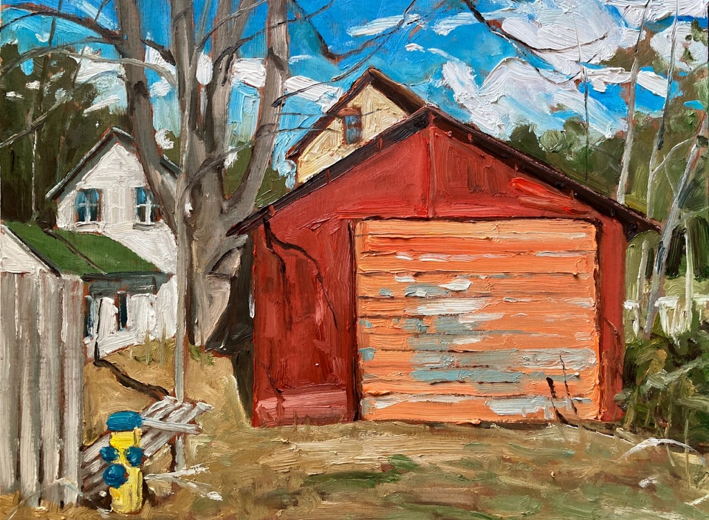 """Oxford Street Shed by John Climenhage, 2001-2005 oil on panel 12""""x16"""""""