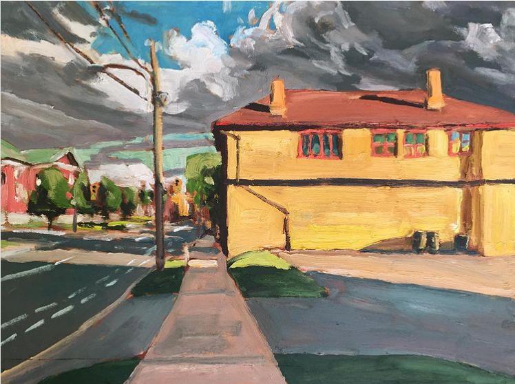 "George Street Peterborough by John Climenhage, 2020 oil on panel 12""x16"