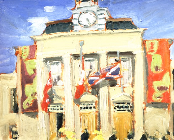 "Artsweek Kickoff by John Climenhage, 2005 oil on panel 8""x 6"""