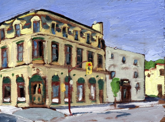 "George Street by John Climenhage, 2001-2005 oil on panel 8""x6"""