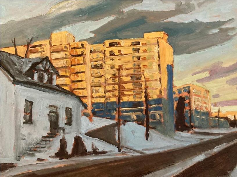 "Hunter Street, Peterborough by John Climenhage, 2021 oil on panel 12""x16"""