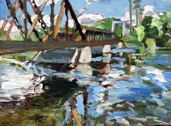 "Train Bridge by John Climenhage, 2001-2005 oil on panel 6""x8"""