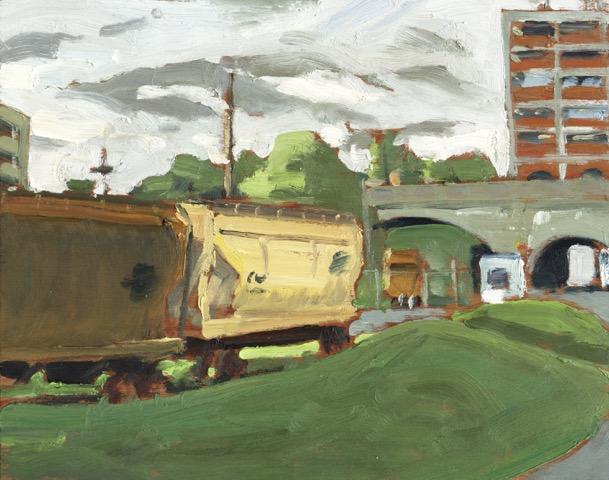 """Railway Cars, Quaker by John Climenhage, 2001-2005 oil on panel 6""""X 8"""""""
