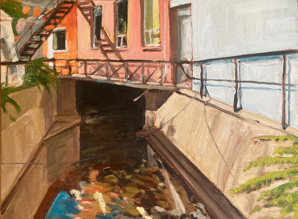 "Jackson Creek Downtown John Climenhage, 2020 oil on panel 12""x16"""