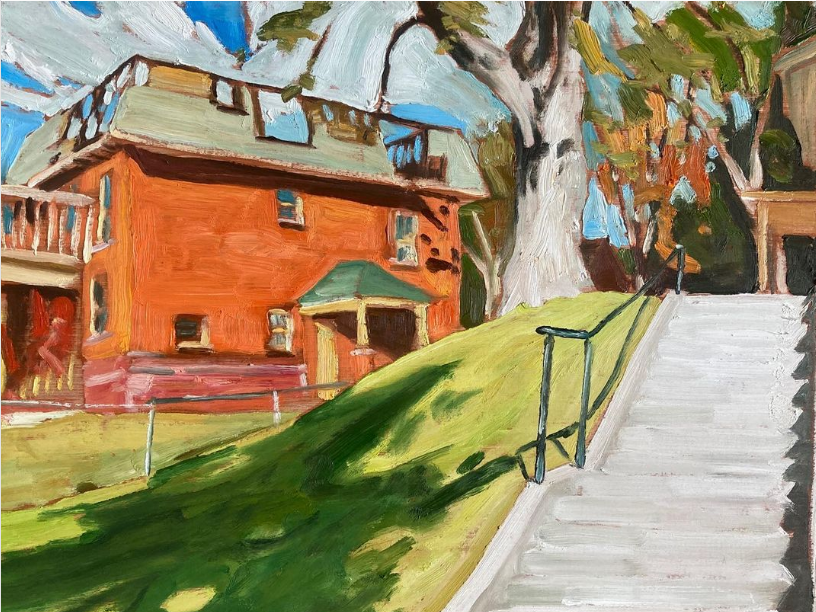 """Park and Hunter (What the fire left unfinished) by John Climenhage, 2021 oil on panel 12""""X16"""""""