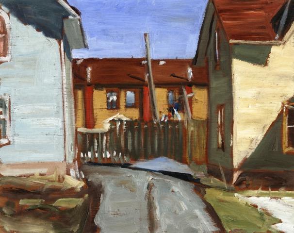 "Laundry, Peterborough by John Climenhage, 2005 oil on panel 12""X16"""