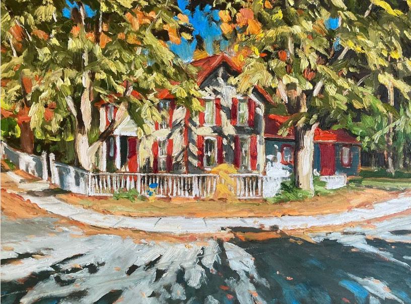 "Almer Street Dapple by John Climenhage, 2021 oil on panel 12""x16"""""
