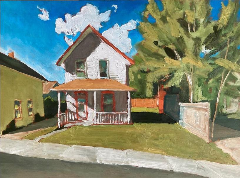 "House on Antrim Street, John Climenhage, 2005 oil on panel 12""x16"""