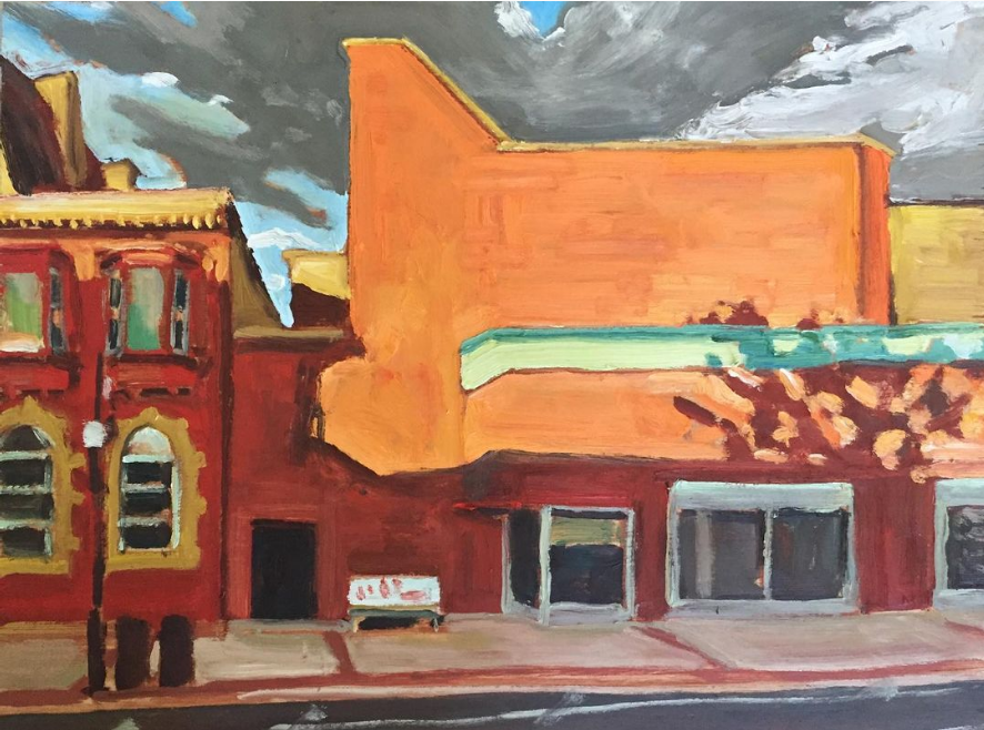 """Water Street, Peterborough (Your Ad Here) by John Climenhage, 2021 oil on panel 12"""" x 16"""""""